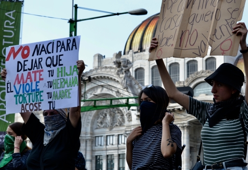 """Feminist protestors blocked streets and """"liberated"""" the Bellas Artes metro station in downtown Mexico City Feb. 21, 2020."""