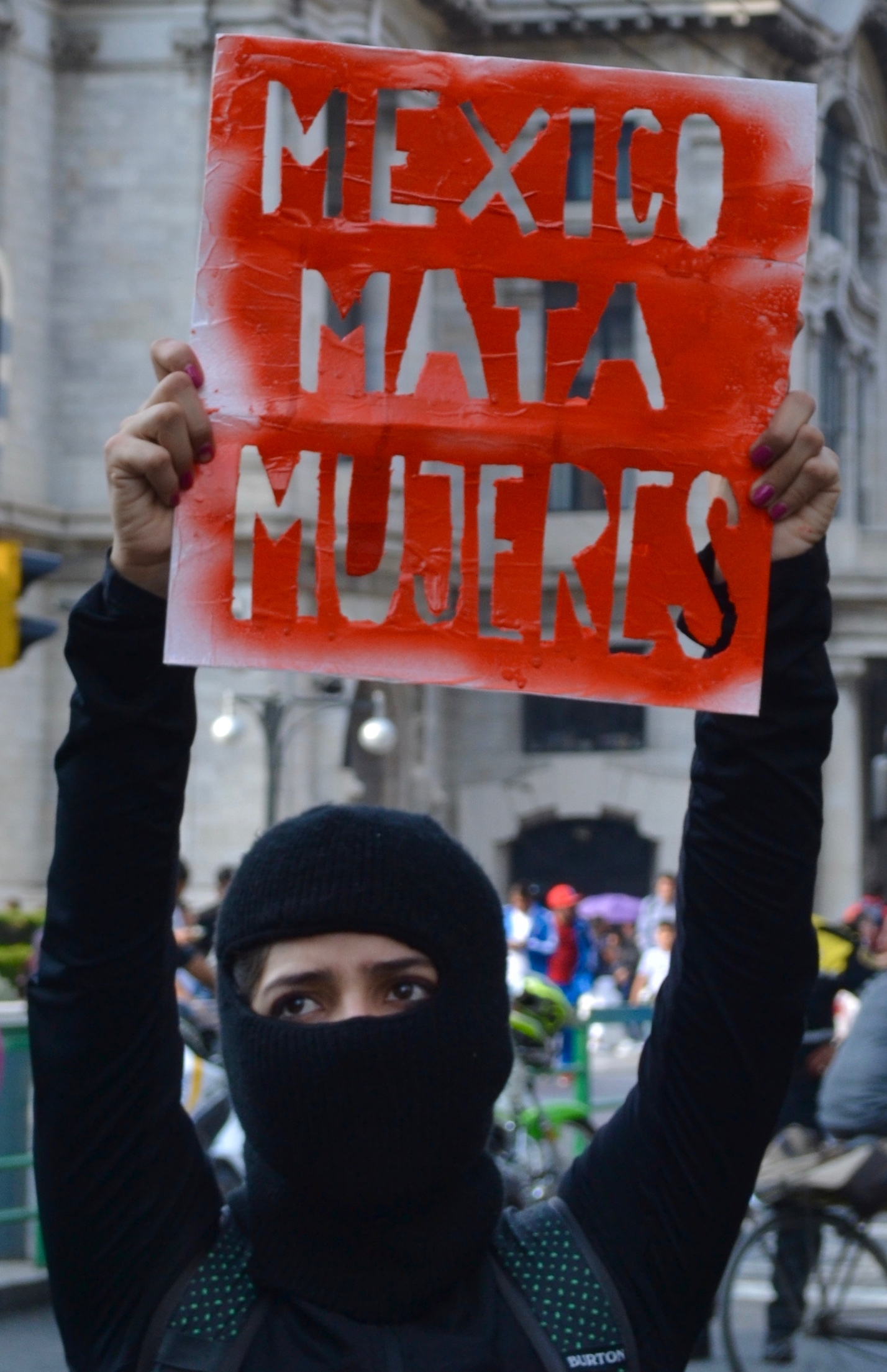 "Feminist protestors blocked streets and ""liberated"" the Bellas Artes metro station in downtown Mexico City Feb. 21, 2020."